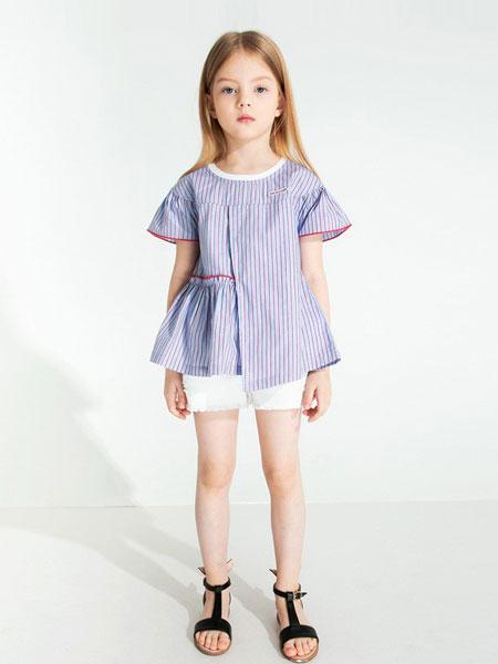 时尚小鱼童装品牌2019春夏新款韩版女童清新短袖单衫