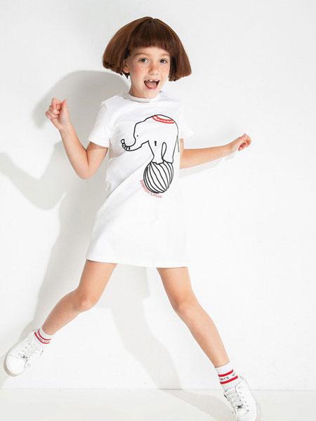 时尚小鱼童装品牌2019春夏女童印花休闲洋气童装短袖连衣裙
