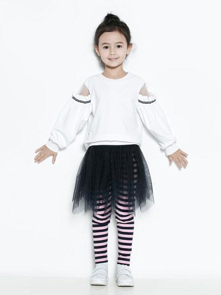 时尚小鱼童装品牌2019春夏新款女童网纱露肩卫衣圆领套头灯笼袖长袖T恤