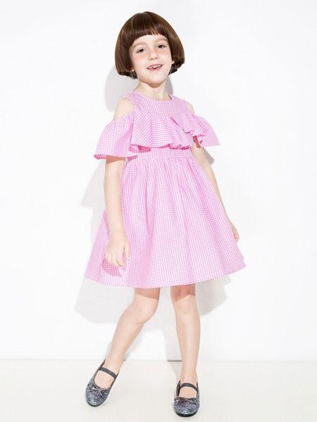 时尚小鱼童装品牌2019春夏新款个性女童格子短袖连衣裙