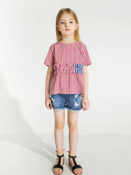 时尚小鱼童装品牌2019春夏新款女童格子拼接短袖单衫