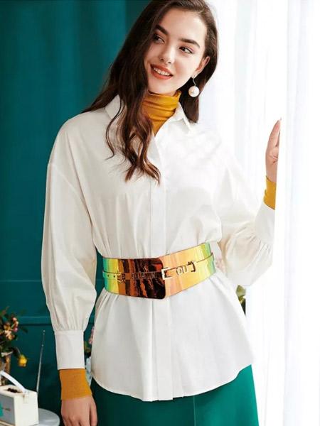 欧点女装品牌2019秋季新款长袖系带收腰显瘦拼接洋气衬衫上衣