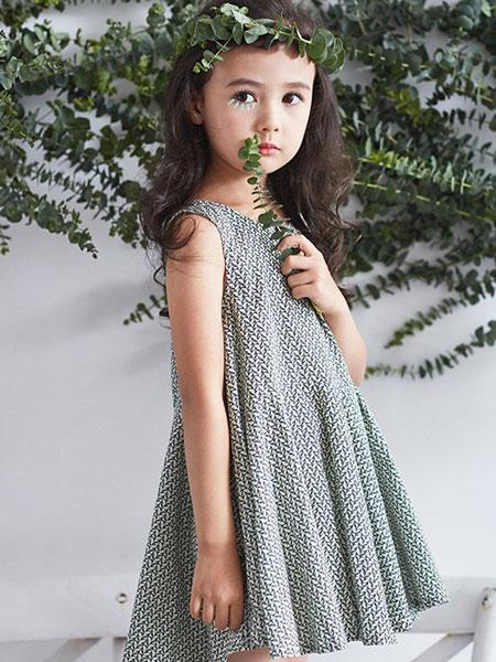 艾艾屋童装品牌2019春夏女孩儿童洋气背心裙