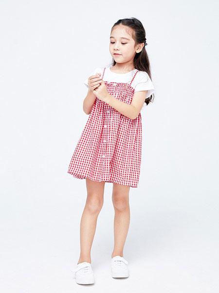 艾艾屋童装品牌2019春夏女童洋气格子连衣裙