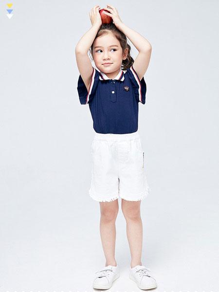 艾艾屋童装品牌2019春夏女童翻领T恤短袖运动衫