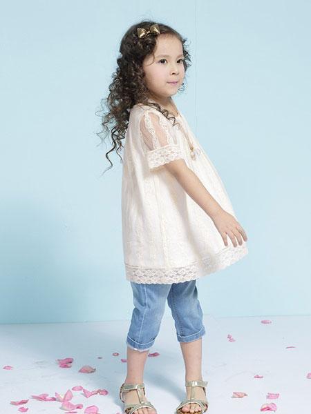 艾艾屋童装品牌2019春夏蕾丝宽松短袖T恤韩版时尚儿童中长款上衣