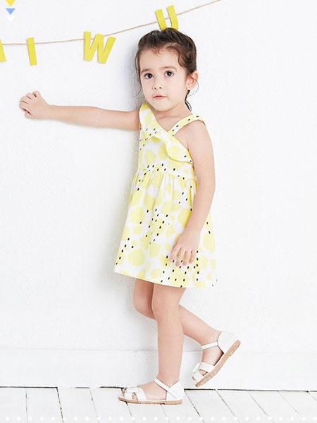 艾艾屋童装品牌2019春夏女童斜肩吊带连衣裙纯棉
