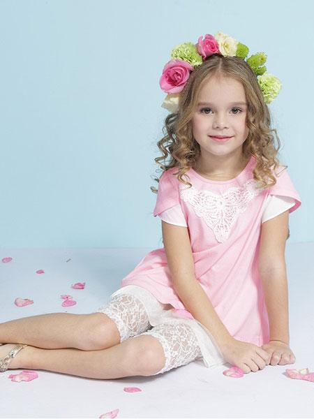 艾艾屋童装品牌2019春夏女童雪纺打底衫儿童短袖T恤