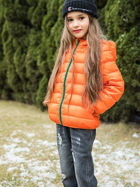 卡儿菲特河南童装品牌2019秋季新款韩版时尚连帽保暖短款羽绒外套