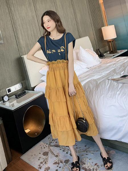 景安女装品牌2019春夏新款印花短袖+背带蛋糕连衣裙两件套减龄套装