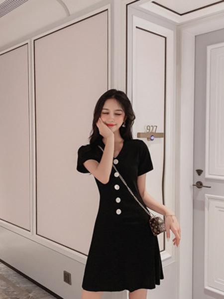 景安女装品牌2019春夏新款黑色v领透气修身显瘦短袖连衣裙
