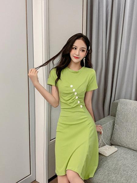 景安女装品牌2019春夏新款韩版减龄收腰显瘦气质牛油果绿连衣裙