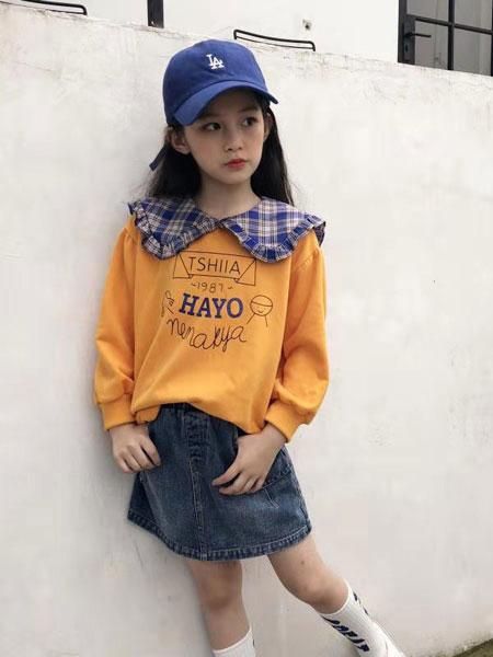 说与童装品牌2019秋冬流行海军领短袖个性款女孩T恤