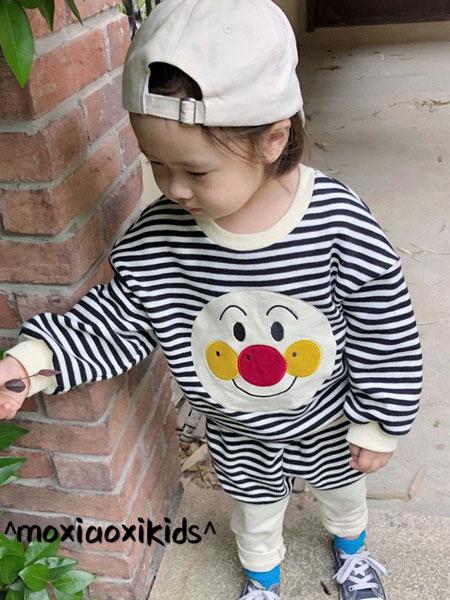 莫小汐童装品牌2019秋季韩版条纹卫衣套装三件套