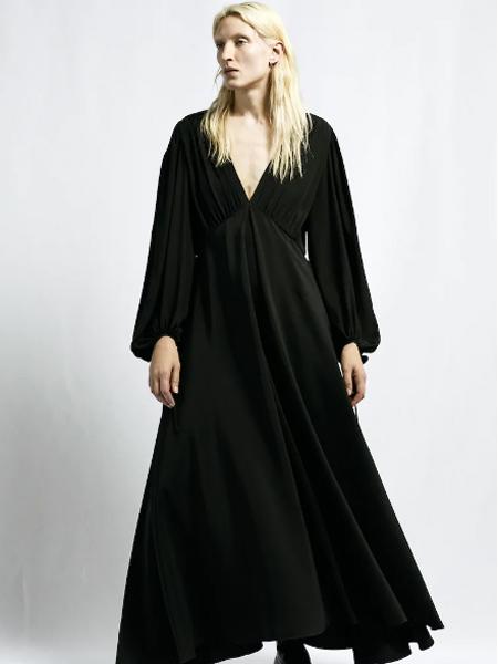 The Row女装品牌2019秋季新款V领系带气球袖收腰长裙连衣裙