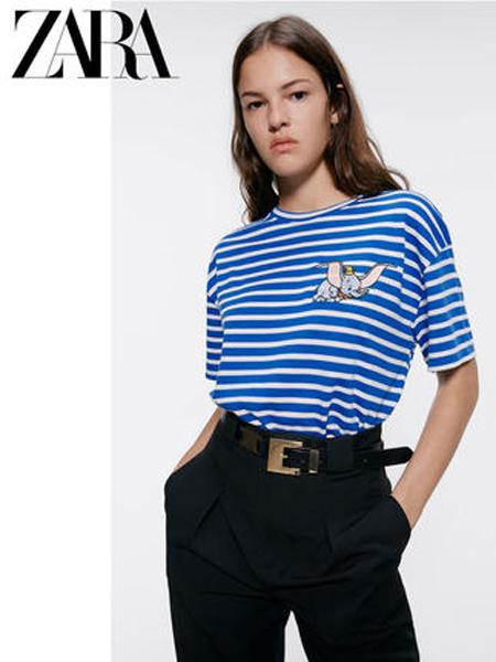 ZARA休闲品牌2019春夏新款韩版休闲条纹字母印花短袖T恤