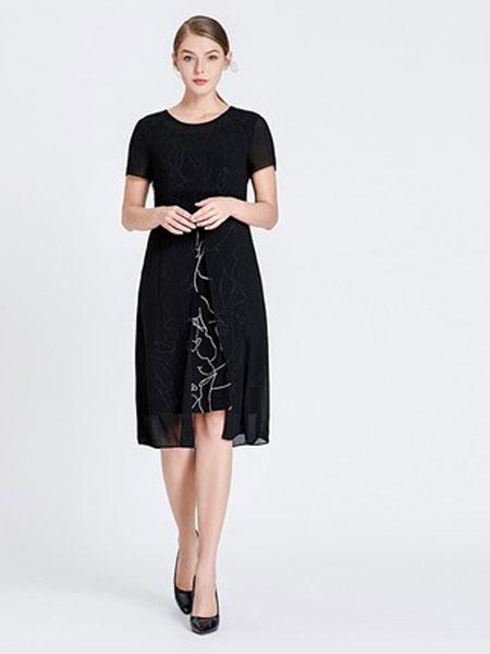 吉蒂女装品牌2019春夏新款假两件拼接雪纺连衣裙大码印花修身中长裙