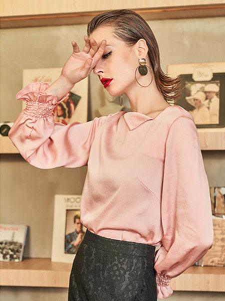 idole女装品牌2019春夏新款雪纺衫洋气小衫粉红色上衣