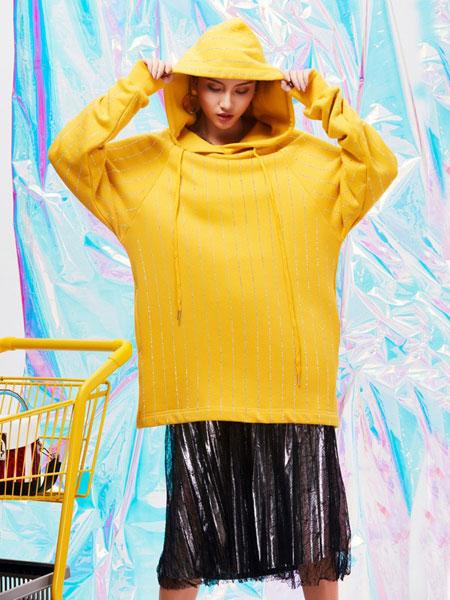 颜若蓝女装品牌2019春夏韩版宽松高腰显瘦长袖彩色连帽上衣潮