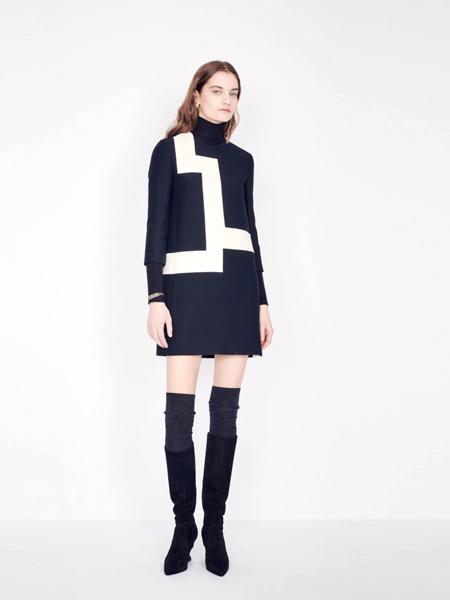Dior迪奥女装品牌2019秋季新款黑白拼接A字版型遮肉显瘦连衣裙