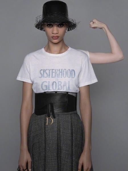 Dior迪奥女装品牌2019秋季新款棉麻短袖T恤收腰显瘦刺绣百搭潮T