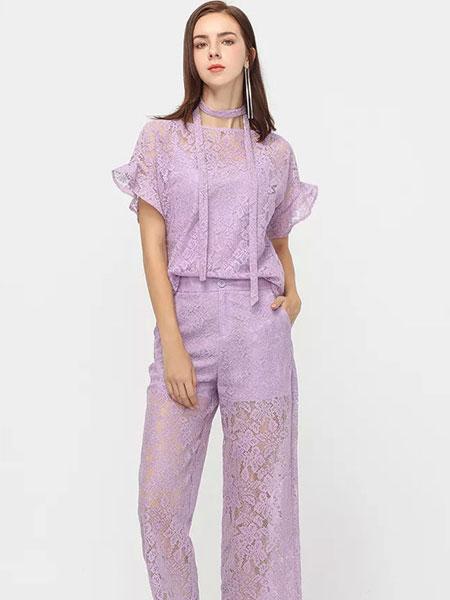 拍普儿女装品牌2019春夏新款气质蕾丝套装短袖圆领上衣时尚高腰阔腿裤两件套潮