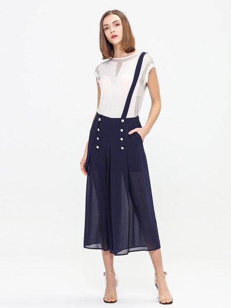 拍普儿女装品牌2019春夏新款复古英伦吊带可拆微透视双排扣半身雪纺背带裙裤