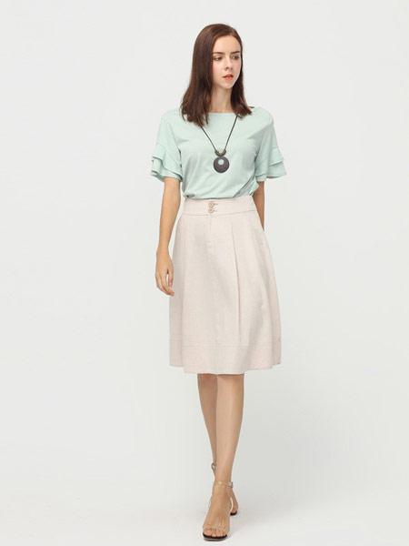 拍普儿女装品牌2019春夏新款纯棉喇叭袖圆领宽松透气百搭时尚大码气质T恤上衣
