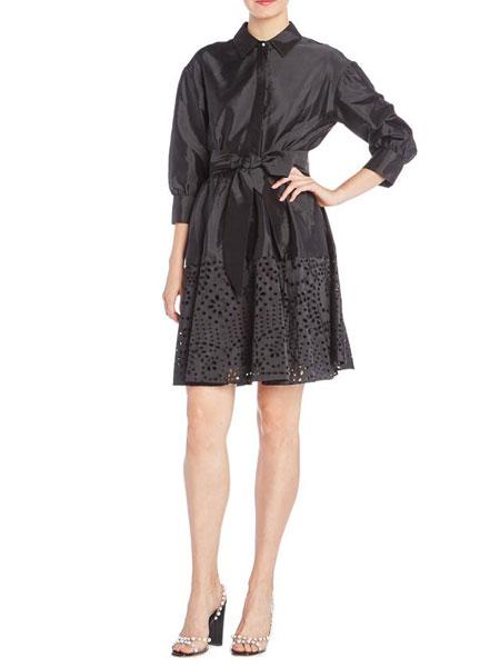 Monique Lhuillier女�b品牌2019春夏新款 黑色高腰不��t�U空拼接�B衣裙