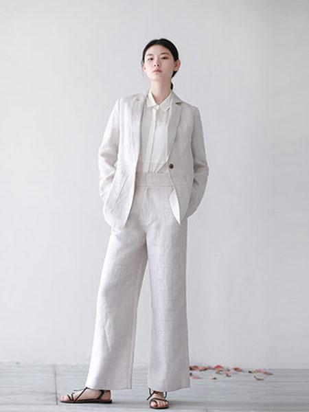 蔻贝卡女装品牌2019春季新款格纹简约阔腿裤显瘦高腰亚麻裤慵懒风