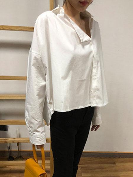 蔻贝卡女装品牌2019春季新款不规则时尚宽松休闲长袖上衣衬衣