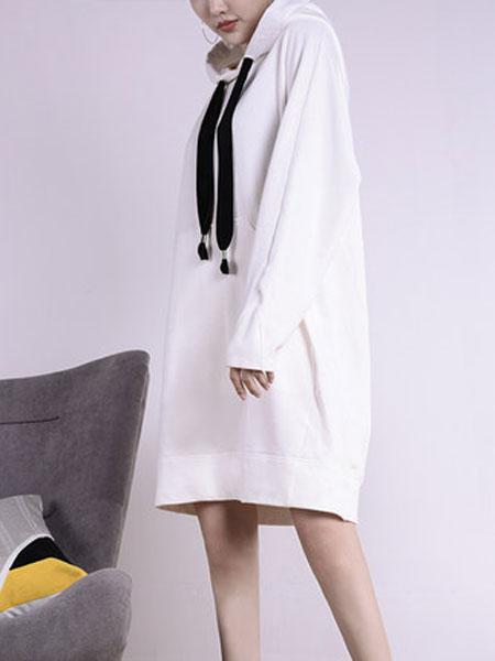 蔻贝卡女装品牌2019春季新款中长款韩版连帽时尚休闲卫衣套头宽松