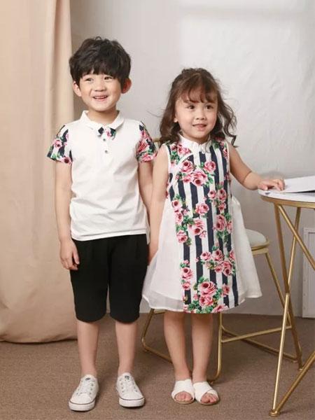 皇室童缘童装品牌2019春夏新款休闲男童短袖衬衫套装潮