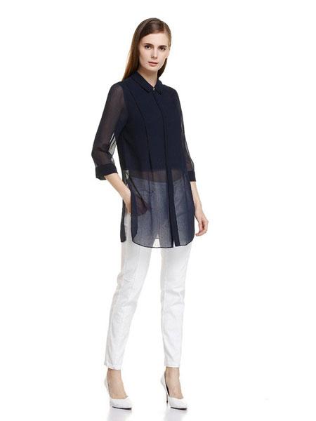 恩灵女装品牌2019春夏新款九分袖衬衫上衣中长款