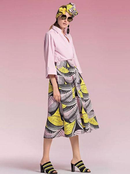 玛可凯恩 marc cain女装品牌2019春夏新款高腰风印花半身长裙