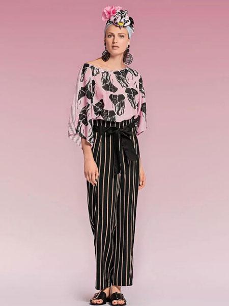 玛可凯恩 marc cain女装品牌2019春夏休闲条纹高腰阔腿裤港味女神范两件套潮