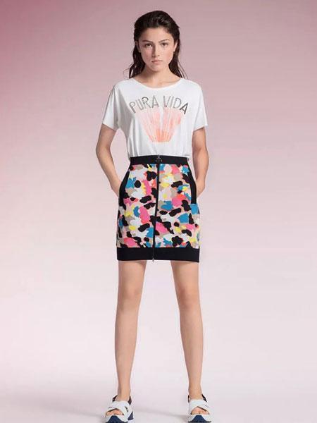玛可凯恩 marc cain女装品牌2019春夏新款短袖T恤女纯棉字母上衣
