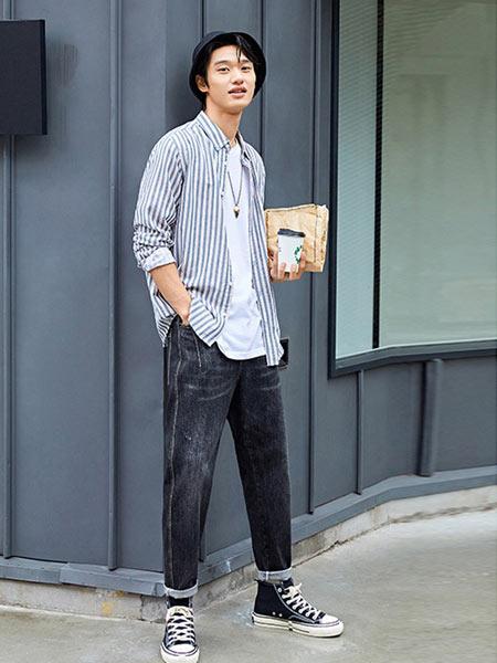 抹茶故事男装品牌2019春夏新款韩版潮流休闲长袖衬衣