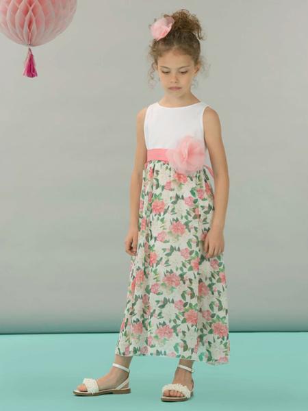 I PINCO PALLINO童装品牌2019春夏新款粉白玫瑰绿叶白色无袖连衣裙