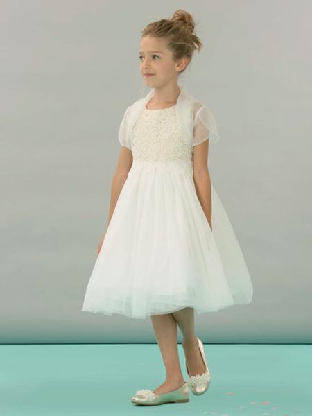 I PINCO PALLINO童装品牌2019春夏新款白色镂空小花薄纱拼接无袖连衣裙