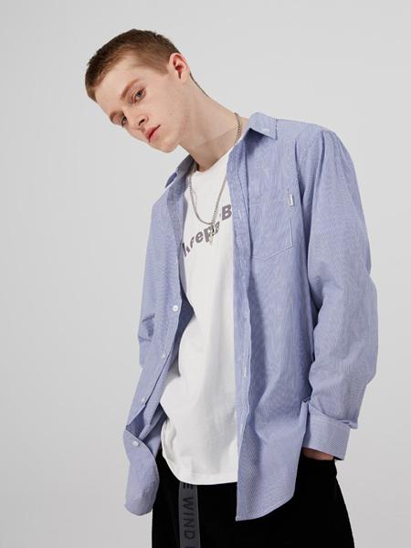 iisutas男装品牌2019秋冬新款时尚蓝白细条纹衬衫长袖宽松衬衣