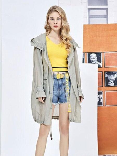 蒂赛尔娜女装品牌2019春夏新款百搭意抽绳收腰茧型连帽风衣