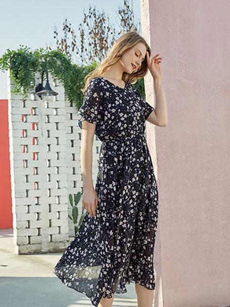 蒂赛尔娜女装品牌2019春夏新款时尚气质小清新碎花雪纺中长款连衣裙