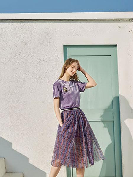 蒂赛尔娜女装品牌2019春夏新款短袖拼接网纱印花飘逸连衣裙