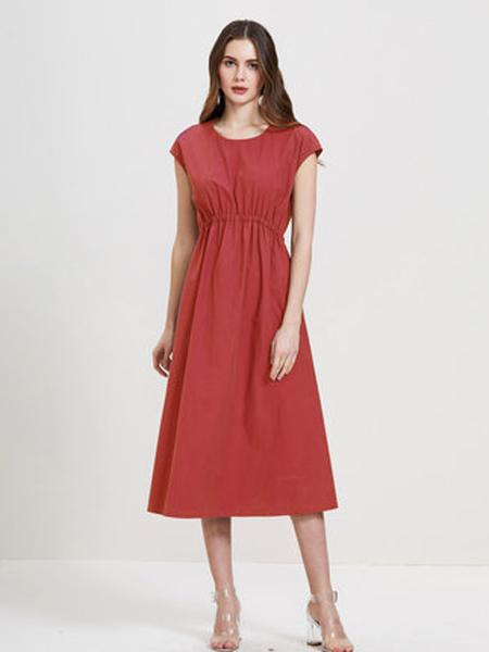 showlong、舒朗、美之藤、高歌女装品牌2019春夏新款连衣裙优雅休闲短袖高腰显瘦气质长裙