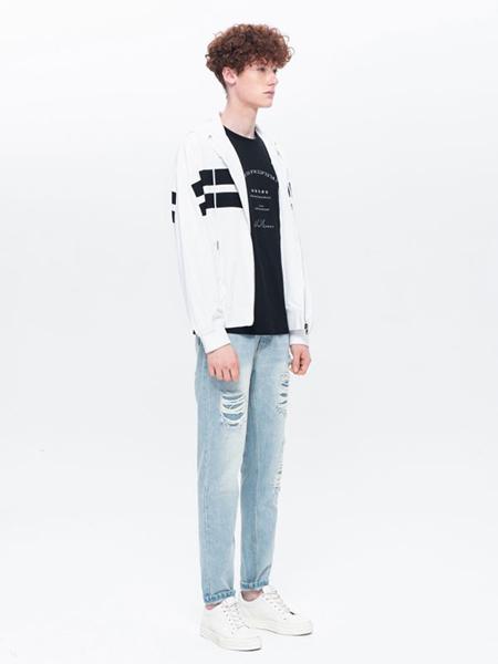 汉崇男装品牌2019秋冬新款时尚黑白撞色休闲外套