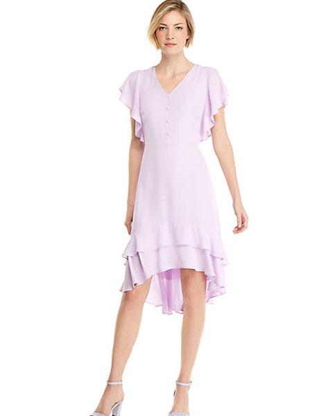 EXPRESS女装品牌2019春夏新款V领甜美荷叶边修身收腰连衣裙