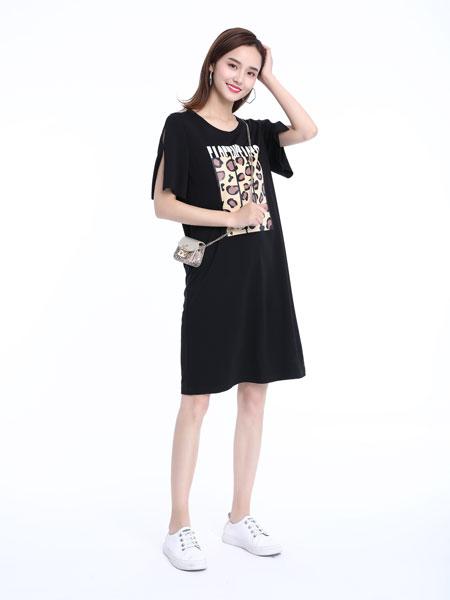 文果怡彩女装品牌2019春夏新款韩版宽松印花短袖T恤裙
