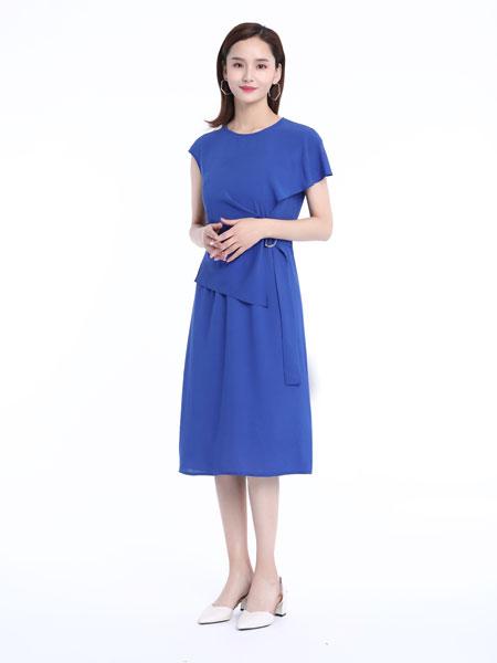 文果怡彩女装品牌2019春夏新款时尚收腰显瘦中长款纯色圆领A字裙
