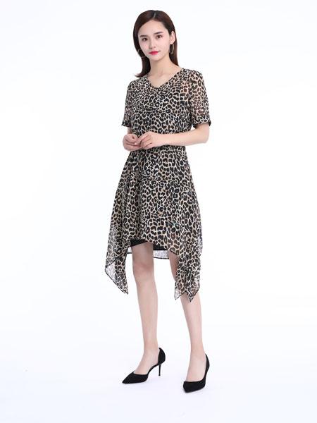文果怡彩女装品牌2019春夏新款碎花不规则中长系带v领连衣裙